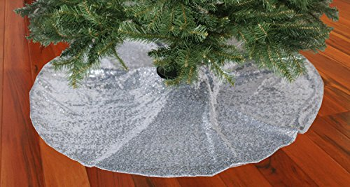 ShinyBeauty 48-Inch Embroidery Sequin Christmas Tree Skirt, Silver (Silver Tree Skirt)