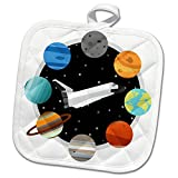 3dRose Janna Salak Designs Outer Space - Space Shuttle and Solar System - 8x8 Potholder (phl_283592_1)