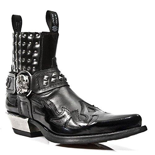 New Rock Black Leather Biker Steel Heel Stud Boots - M.7950 Black HI0xOd2T