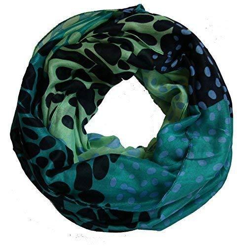 punto ligero lazo de colores fuertes Bufanda de con mujer de Verde Negro wq1aqtf