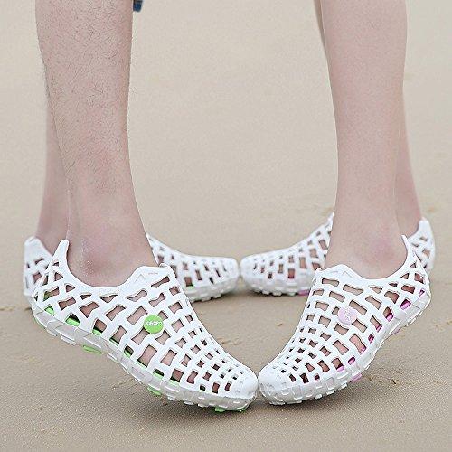 43 de Rose Vif Plage Chaussures Blanc de Pluie Mocassins Femme EU Bleu GongzhuMM Unisexe Gris 35 Bottes Rose Noir Homme Sandales Blanc Trou fqgUwREWn