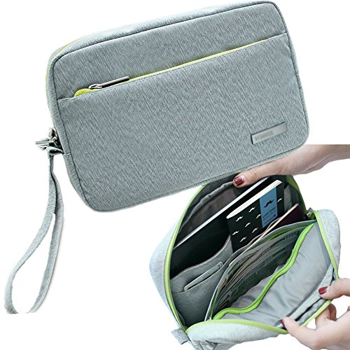 2fa6af40e360 iSuperb Document Wallet Card Holder Passport Organizer iPad Bag Gray  Waterproof Roomy Passport Case Document Bag for Travel with Hand Strap ...
