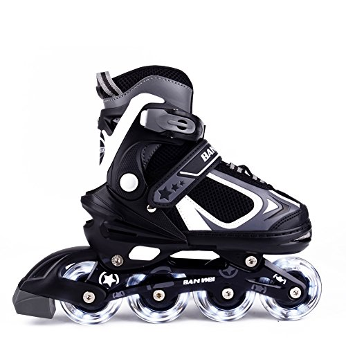 MammyGol Adjustable Inline Skates for Kids, Boy's / Girl's Roller Shoes with Light up Wheels Size 35 - 38 (Black & Grey)