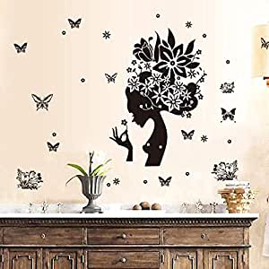 DIY Removable Wall Stickers For Living Room Home Decor - Black Rose girl