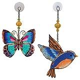 Regal Art & Gift Suncatchers, Green Butterfly & Blue Bird Glass Sun Catcher for Home, Garden, Window and Wall Art