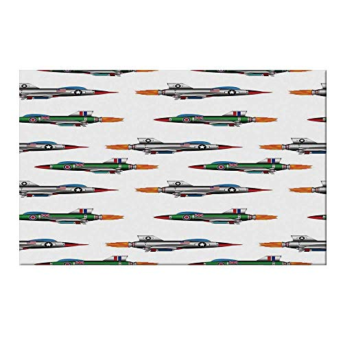 YOLIYANA Airplane Decor Durable Door Mat,Collection of Jet Fighters Rocket Aviation Attack Fire Bombers Missile Modern UK Model Print for Home Office,15.7