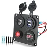 Iztoss 12-24V Red Voltmeter Cigarette Lighter 4.2 Dual USB Adapter Charger with switch 4 hole aluminum Panel plate For truck Boat marine trailer