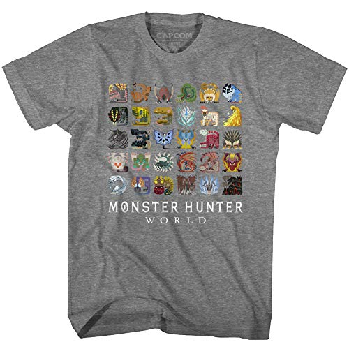 Monster Hunter Fantasy Action Role-Playing Video Game Icon Textiles T-Shirt Tee Gray (The Best Monster Hunter Game)