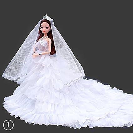 zhuotop 1pieza blanco vestido de novia Mantilla partido mini vestido de ropa para Barbie muñeca