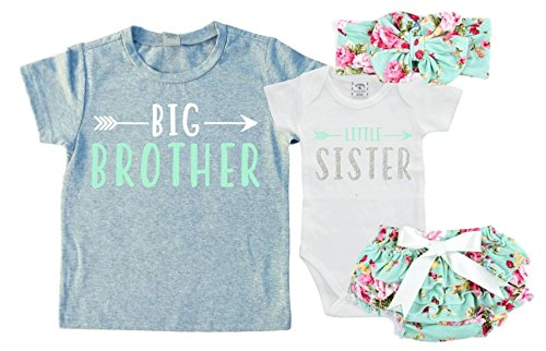 Big Brother/Little Sister Set. Matching Big Brother Little Sister Set 0-3Mo Bodysuit & 2T Shirt (Brother Sister Clothes)