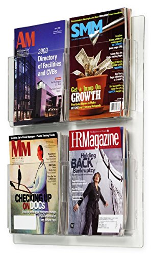 Acrylic Brochure Rack - Displays2go Hanging Magazine Racks, Wall Mounting Brochure Holders, Adjustable Dividers, Clear (RP4CLR)