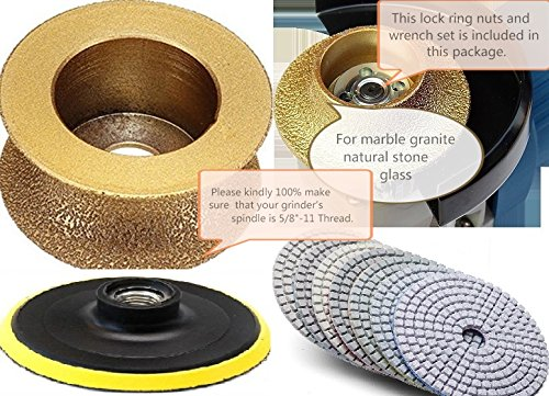 1-1/4'' Full Bullnose Diamond Router Bit Profiler Granite Polishing Pad 8+1 Piece 4'' Concrete Marble Travertine Quartz Countertops vanity Top edge fabricate repair refinishing masonry grinding wheel