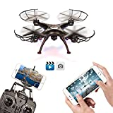 Drone With Camera - BABADIO 2 Remote Control Mode 4 Channel 2.4G 6-Axis Gyro RC Headless Quadcopter X5SW-1 Drone with Wifi Camera (FPV) for Real Time Video Transmission - Black