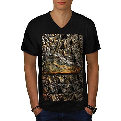 crocodile-skin-print-reptile-men-new-m-v-neck-t-shirt-wellcoda