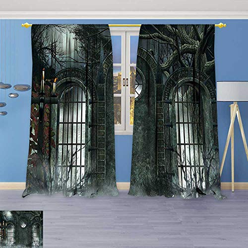 Design Print Thermal Insulated Blackout Curtain Decor Moon Halloween Ancient Historical Gate Gothic Background Candles Fiction View Gray for Living Room for $<!--$56.99-->