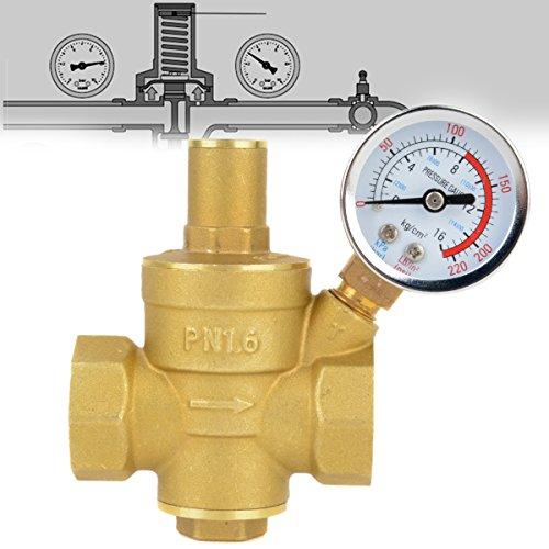 (Water Pressure Regulator 3/4 Adjustable Brass Water Regulator Valve Pressure Reducing with)