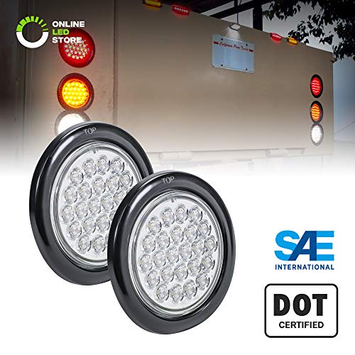 2pc 4 Round White 24 LED Trailer Tail Lights [DOT Certified] [Grommet & Plug Included] [IP67 Waterproof] Reverse Back Up Trailer Lights for RV Trucks Jeep