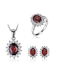 JewelryPalace Kate Princess Diana 6.3ct Natural Garnet Jewelry Sets Halo Engagement Ring Pendant Stud Earrings Necklace Pure Solid 925 Sterling Sliver