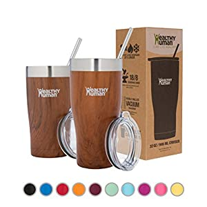Healthy Human Insulated Stainless Steel Tumbler Cruisers - Travel Cup with Lid & Straw - Vacuum Double Walled Thermos - Idea for Coffee, Tea & Water 32 oz. Harvest Maple