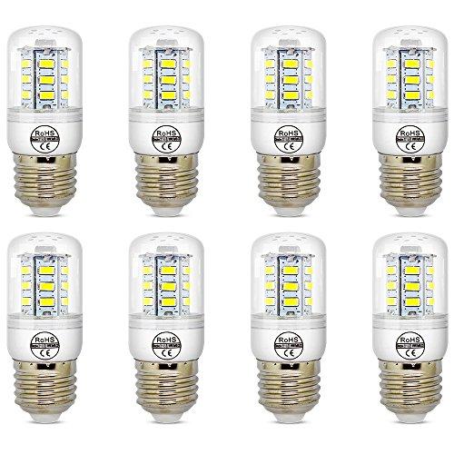 E27 5W White LED Light Bulb Lamp, Low Power Consumption, AC 110-120v, Cool White 6500K, E26 LED Corn Bulb, 40 Watts Replacement, Pack of 8 Units (E27 Bulb Led)