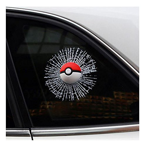 [Car 3D Monster Ball, Marsway 2016 Creative Funny 3D Bumpers, Roofs, Cars, Motorcycles, Tuning, Etc. Hits Car Window Decal] (Sports Related Halloween Costumes 2016)