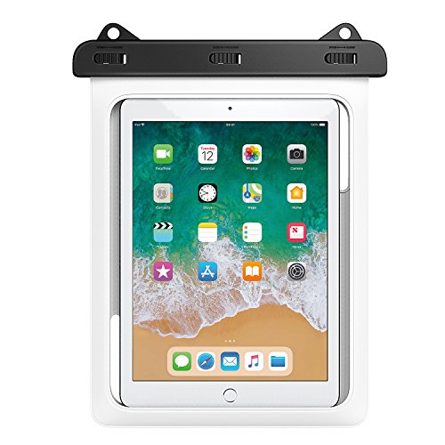 MoKo Waterproof Tablet Case, Tablet Pouch Dry Bag for New iPad 9.7 2018/2017, iPad Pro 9.7, iPad Air 2, iPad 4/3/2, Samasung Tab S4/ S3/ S2/Tab A 9.7, Galaxy Note 8, Tab E 9.6 Up to 10 Inch, White ()