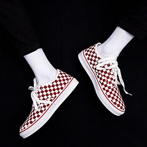 Scarpe Red di Size nero uomo da grata stoffa da moda Harajuku di stile scarpe scarpe Espadrillas Scarpe tela Color Brown maschile stile bianco 41 di lavoro basse in e coreano npqXwCxI