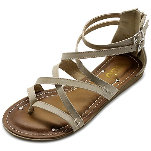 Ollio Womens Shoe Gladiator Strap Flat Zori Sandal M1052 (8 B(M) US, Beige) by Ollio