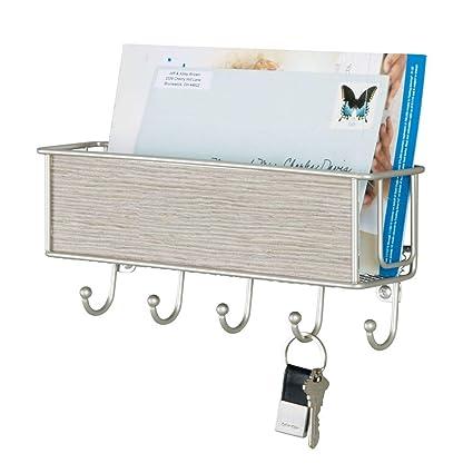 mDesign Práctico organizador de cartas con cesta ...