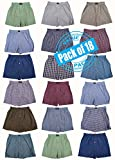 Basics Classic Men's 12 Pack Woven Boxers Sleep Shorts Travel Pack Collection (XX-Large, Bonus Pack of 18 - Assorted Patterns)