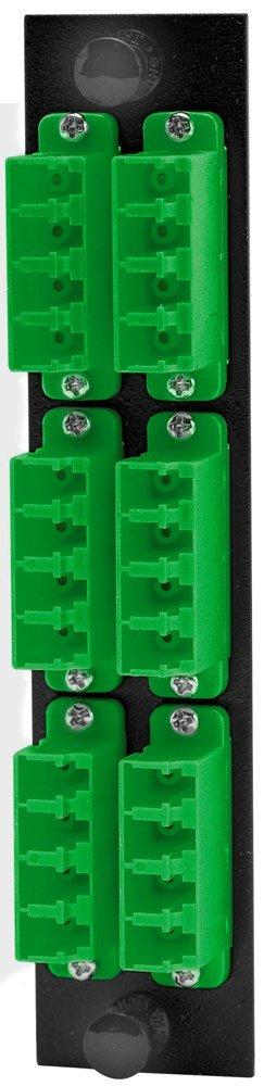 Hubbell HUBFSPLCQM6GN Adapter Panel, 24-Fiber, 6 LC Quad, Phosphor Bronze, Green by Hubbell