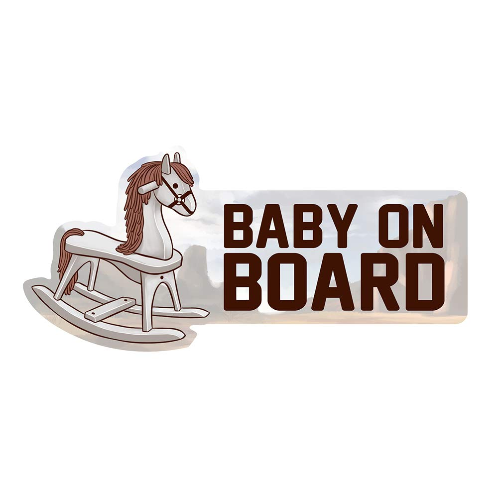 Rocking Horse Vinyl Baby on Board Window Car Decal