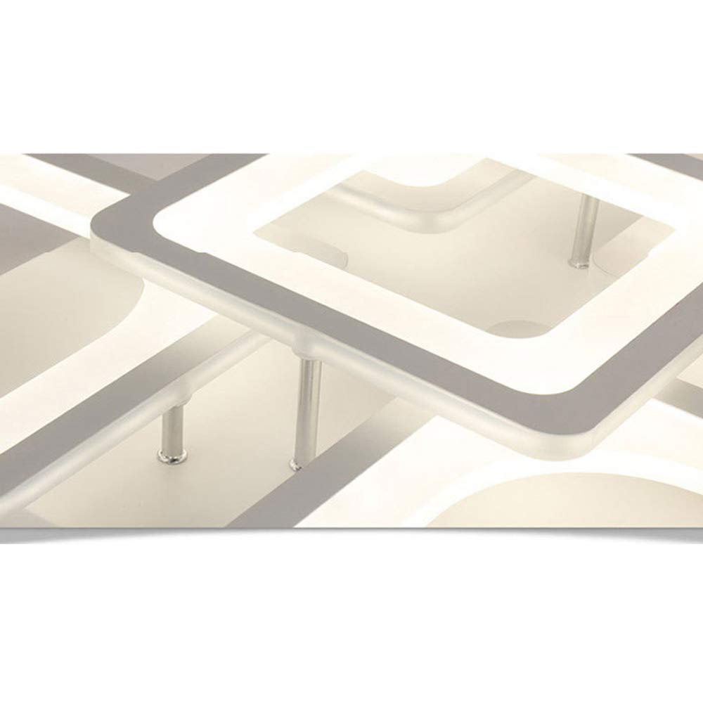 L/ámpara Techo LED Moderno 85W L/ámpara Sala Estar Luz Techo Dise/ño Plaza Creativa Simple Regulable Metal Acr/ílico L/ámpara Interior Dormitorio Cocina Iluminaci/ón Techo L60*W60*H11cm Blanco 220V