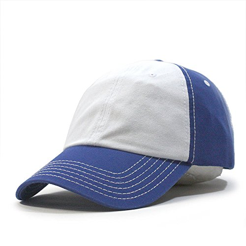 Two Tone Classic Washed Cotton Twill Low Profile Adjustable Baseball Cap (Royal/White/Royal)