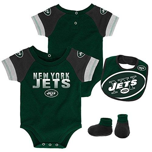 Outerstuff NFL NFL New York Jets Newborn & Infant 50 Yard Dash Bodysuit, Bib & Bootie Set Hunter Green, 18 Months