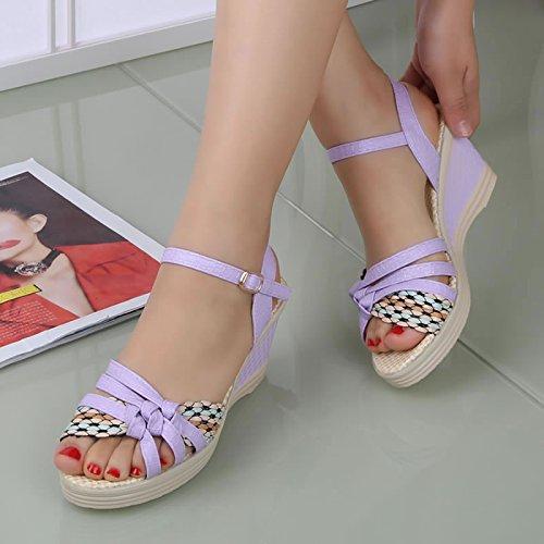 SHOESHAOGE High Women'S Heeled Épais Chaussures Grin Avec Le Pentes Sandales 7qwv714F