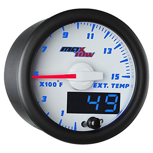 MaxTow Double Vision 1500 F Pyrometer Exhaust Gas Temperature EGT Gauge Kit - Includes Type K Probe - White Gauge Face - Blue LED Dial - Analog & Digital Readouts - for Diesel Trucks - 2-1/16