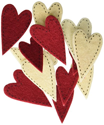 Darice FLT-1016 Darice, 72 Piece, Felties Felt Stickers, Stitched Hearts,,