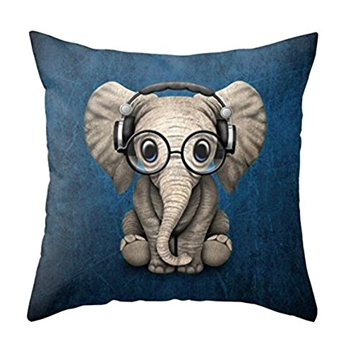 Aremetop Lovely Animals Elephant Baby Wearing Glasses with Headphones Cotton Linen Home Decor Pillowcase Throw Pillow Cushion Cover 18 x 18 Inches (Elephant Baby Wearing Glasses & Headphones/Blue) ()
