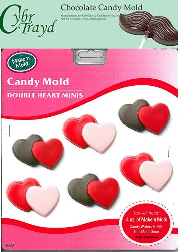 Cybrtrayd 'Double Heart Minis' Make 'N Mold Chocolate Candy Mold with Copyrighted Cybrtrayd Molding Instructions