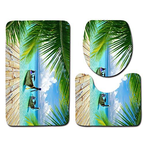 Wociaosmd-Wall Sticker 3pcs Seascape Print Non-Slip Pedestal Rug + Lid Toilet Cover + Bath Mat Set Bathroom Kitchen Carpet Doormats Decor(F)