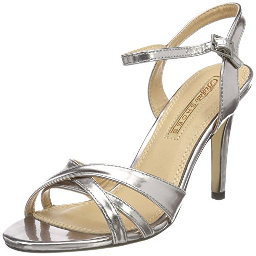 Buffalo 312703 Metallic Pu, Women's Ankle Strap Sandals Silver (Pewter 01)