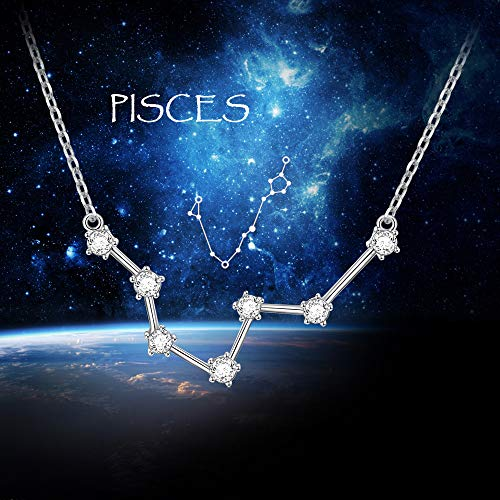 "Constellation Necklace 925 Sterling Silver CZ Horoscope Zodiac Constellation Pendant Necklace for Women,18"" (Pisces)"
