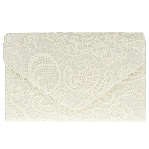 Ladies Bag Wedding Evening Satin Shoulder Clutch Lace Ivory Chain Womens Elegant r0rxqt8