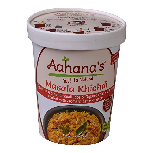 Vegan Masala Khichadi - Organic Basmati Rice and Split Red Lentil with Vegetables Ayurveda Spices - Gluten free, Low Sodium, Meal in a bowl – Just Add Water, Detox and Panchakarma - Aahana's (4 Pack)
