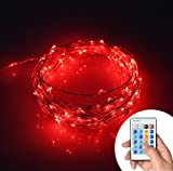 Xking 33ft / 10m 100 Leds Copper Wire String Lights / Christmas, Wedding and Party Decorative Lights / Controllable:flash , Strobe , Fade (Red)
