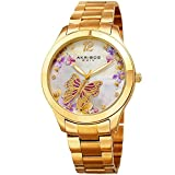 Akribos XXIV Women's Gold-Tone Case with Genuine Swarovski Crystals and White Mother-of-Pearl with Butterfly Dial on Gold-Tone Stainless Steel Bracelet Watch AK953BYG