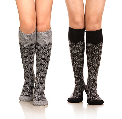 DoSmart Womens Winter Warm Knee High Socks Boot Socks 2-Pairs Multi Color (AA-02), One Size