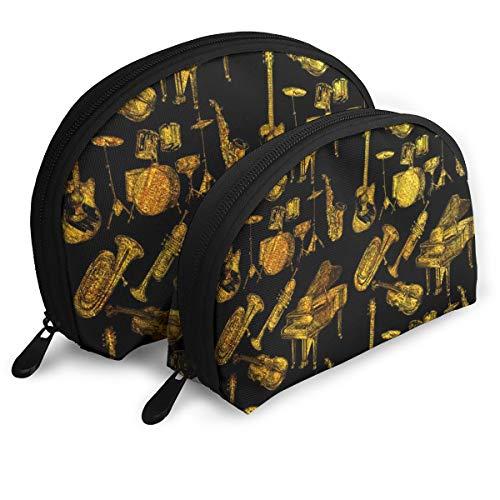 (Trumpet Piano Guitar Art Shellfish Cosmetic Bag Shell Shape Portable Storage Bags Luxury Toiletry)