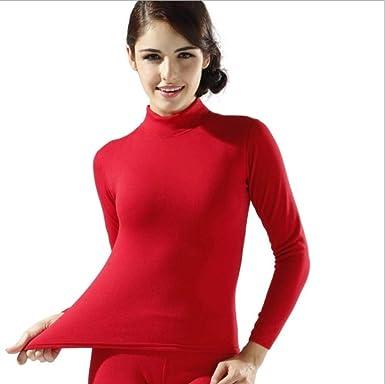 Li Kererwinter Ropa Interior térmica de algodón de Cuello Alto de Terciopelo Grueso para Mujer Calzoncillos Largos Largos Camisa Larga para Mujer + Pantalones Conjuntos de 2 Piezas, Estilo 1 Rojo, M: